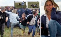 Hungarian camerawoman sacked after she is filmed tripping up migrants