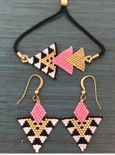 Beaded Earrings Patterns, Seed Bead Patterns, Beading Patterns, Beading Tutorials, Bead Jewellery, Seed Bead Jewelry, Seed Bead Earrings, Seed Bead Art, Brick Stitch Earrings