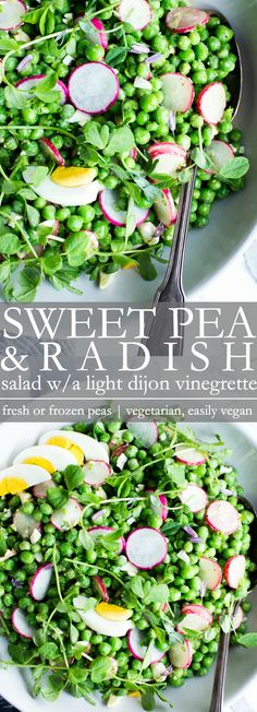 The freshest sweet, plump peas shine in this sweet pea salad recipe. Simple to make using fresh or frozen sweet peas, this healthy green pea salad is easily portable and make ahead ready! Healthy Spring Recipes, Pea Salad Recipes, Radish Recipes, Healthy Salad Recipes, Vegetarian Recipes, Sweet Recipes, Keto Recipes, Green Pea Salad, Plants