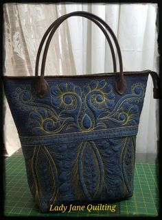 Free motion quilted bag on upcycled jeans with Metallic gold thread-done…