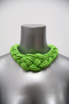 Collar Necklace Braided Knotted Choker Tribal Boho Fabric Jewelry Neckpiece African Lime Green Braid Spring Fashion Jewelry