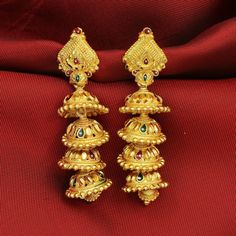 Indian Traditional Bollywood Gold Plated Red Green Enamel Jhumka Jhumki Earrings #DesaiJewellers #DropDangle