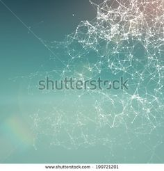 Fresh summer abstract background. Connecting dots, lens flare - stock photo