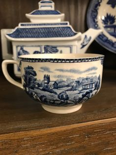 Vintage Old Britain Castles Blue And White Tea Cup Made In England - Stratford On Avon 1792 - Johnson Brothers by StaceysHutch on Etsy