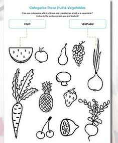 Preschool Worksheets Fruits Vegetables #1