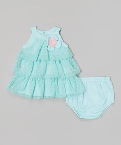 Loving this Blue Tiered A-Line Dress & Diaper Cover on #zulily! #zulilyfinds