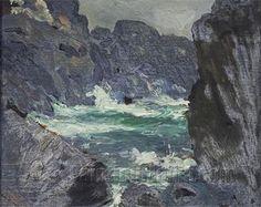 """Rocks and Sea - Monhegan Island,"" Robert Henri, Oil on panel, 8 x 10"", Private collection/"