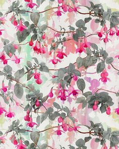 Rainbow Fuchsia Floral Pattern - with grey Art Print by micklyn Textiles, Textile Prints, Textile Patterns, Flower Patterns, Print Patterns, Art Prints, Botanical Prints, Floral Prints, Estilo Rock
