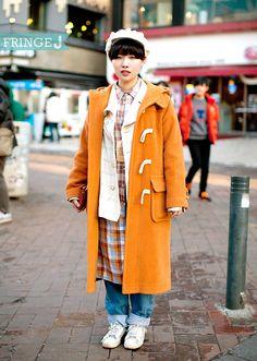 (23) cowboy 스텝  오렌지컬러의 더플코트로 빈티지 하면서도 귀여운 스타일링 바지 - 칼하트, 신발 - 꼼데가르송                                  패션/FringeJ/프린지j/프린지제이/스트릿패션/스트릿/street fashion