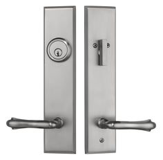 Rockwell Verano Entry Door Handle set with Bourne Lever in Brushed Nickel Finish