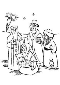 Dessin à colorier illustrant les rois mages avec l'enfant Jésus et sa maman
