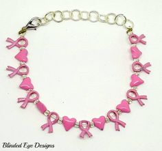 Breast Cancer Pink Ribbon and Heart Bracelet by BlindedEyeDesigns