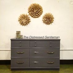 Mid century dresser painted by The Distressed Gentleman with General Finishes milk paint Driftwood.