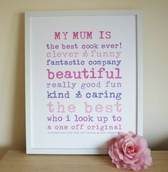 'My Mum' Personalised Print by Little Cherub Design £40