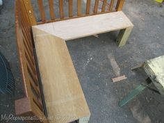 DIY Corner Bench recycle twin head boards or baby bed... CUTE!