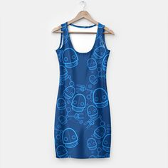 Spaztic Bots, now as dresses! #geekydresses #geekwear #bluedress #robot #robots #bot #bots #fresh #liveheroes #rave #cyber #indieclothing