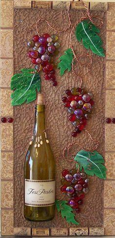 https://flic.kr/p/8EzdTP   Fess Parker   Tile, wine bottle, glass gems, copper wire, corks & stained glass on backer board.