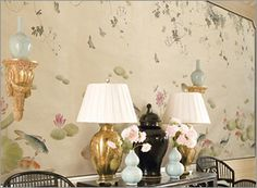 Lotus and Koi hand painted wallpaper mural from Paul Montgomery Studio.