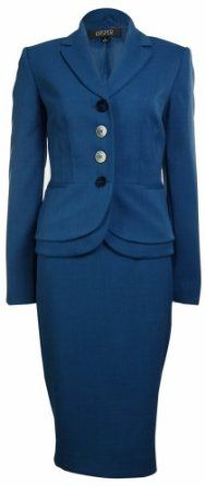 *Alvina This shape might be good on Barbara. We'd have to build it. Women's Business Suit Skirt & Jacket Set in Blue Jay. Business Attire, Business Fashion, Business Women, 60 Fashion, Modest Fashion, Fashion Tips, Career Wear, Professional Attire, Classic Style Women