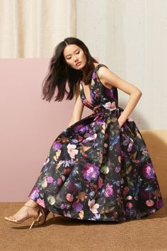 Florals on a dark backdrop are winter's must-have print. // Winter Floral Dress by Cynthia Rowley