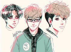 "Fan art of Yoon Bum (윤범) and Sangwoo (상우) from the Korean web manhwa, ""Killing Stalking (킬링 스토킹)"". 