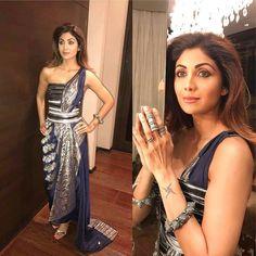 Latest photos of Shilpa Shetty Kundra Saree Gown, Salwar Dress, Sari, Anarkali Churidar, Stylish Sarees, Saree Styles, Bollywood Fashion, Bollywood Actress, Saree Blouse Designs