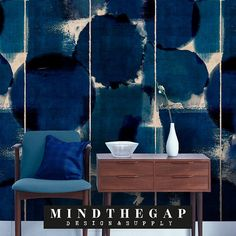 Mind The Gap Wallpaper Collection - Indigo Marvel at Rose & Grey. Buy online now from Rose & Grey, eclectic home accessories and stylish furniture for vintage and modern living Funky Wallpaper, Wallpaper Panels, Marvel Wallpaper, Dark Blue Wallpaper, Paper Wallpaper, Wall Wallpaper, Wallpaper Online, Wallpaper Samples, Wallpaper Direct