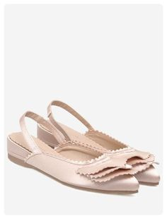 Pointed Toe Slingback Flat Shoes (Light pink)