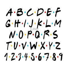 Cute Fonts Alphabet, Hand Lettering Alphabet, Bubble Letter Fonts, Calligraphy Alphabet, Calligraphy Fonts, Friends Font, Friends Tv Show, Bullet Journal School, Bullet Journal Ideas Pages