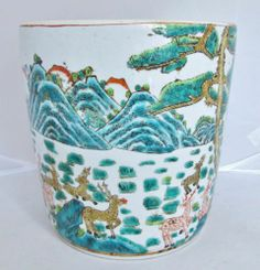 "8 3"" Chinese Thick Porcelain Famille Vert Verte Vase or Planter Pot with Deer - Chinoiserie"