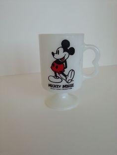 Vintage Disney Mickey Mouse B Handle Pedestal Mug Milk Glass Vtg 70's