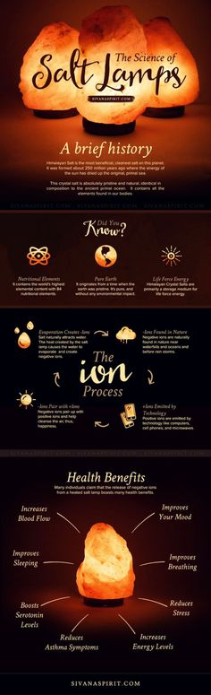 - The Science Of Salt Lamps (Infographic) -   Salt lamps are not only beautiful, they're healing in several unique ways. many individuals claim that the release of negative ions from a heated salt lamp boasts many health benefits
