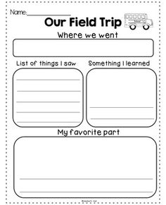 Field Trip Reflection {Freebie}- one with lines, one without