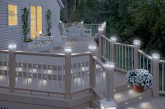 Pretty deck lighting idea. I really like the lights in the stair risers and the solar lighting on the deck railing.