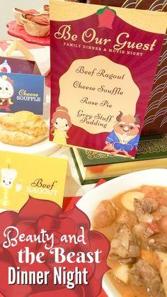 Beauty and the Beast family fun night | Disney | movie night ideas | family dinner ideas | family movie night | Beauty and the Beast party