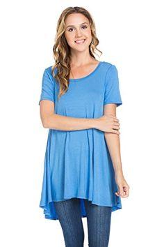 Frumos Womens Short Sleeve Hi Low Tunic Top Blue Marine X…