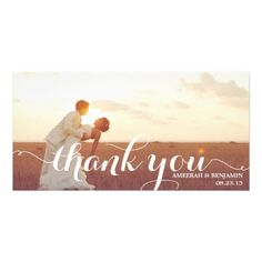 Typography Thank You Cards CALLIGRAPHY SCRIPT WEDDING THANK YOU PHOTO CARD