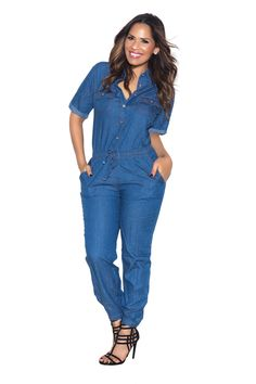 15bde496cdc Blue Chambray Loose Fit Button Up Jumpsuit