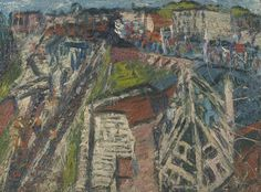 Artist;Leon Kossoff born 1926 Title;Demolition of the Old House, Dalston Junction, Summer 1974.Oil paint on board  This picture depicts a view from the artist's studio in Dalston Lane. Kossoff has a special association with the Dalston district where he grew up and went to school, though not in the immediate vicinity of the studio. Also Kossoff pin the drawings on the wall of the studio and change them frequently in the course of the time he has working on the painting.