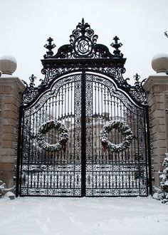 The Breakers Mansion in Newport, Rhode Island. The Ochre Point Avenue entrance is marked by sculpted iron gates and the m) high walkway gates are part of a limestone and iron fence that borders the property on all but the ocean side. Front Gates, Entrance Gates, Grand Entrance, Newport Rhode Island, Wrought Iron Gates, Iron Work, Garden Gates, My Dream Home, Exterior Design