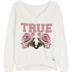 True Religion True Roses Printed Cotton Sweatshirt ($125) ❤ liked on Polyvore featuring tops, hoodies, sweatshirts, sweaters, jumper, sweatshirt, white, white cotton sweatshirt, white top and cotton sweatshirt