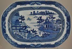 """Bridgeless Chinoiserie"" Blue and White Faience Transfer Platter c 1805"