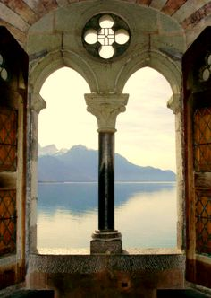 Chateau de Chillon, Montreux, Switzerland.  Imagine waking up to that view every day, its beautiful!