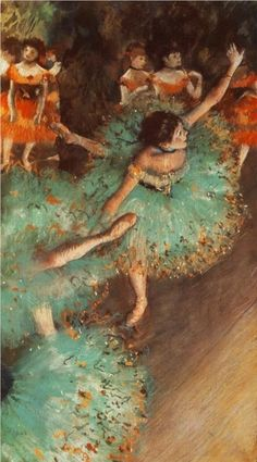 """Degas' """"The Green Dancer"""" 1879  (lol) not just plain green but turquoise and tangerine"""