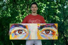 Hipster Art  Acrylic Painting from Eyes Series  by QChinsky