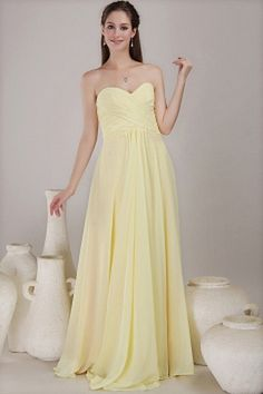 Elegant Yellow Chiffon Evening Gowns - Order Link: http://www.theweddingdresses.com/elegant-yellow-chiffon-evening-gowns-twdn0782.html - Embellishments: Ruched; Length: Floor Length; Fabric: Chiffon; Waist: Natural - Price: 143.96USD