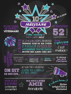 Affiche personnalisée anniversaire 6 à 12 ans Go les pompons! | 28,00$ #chalkboard #lacraieco #cheerleading