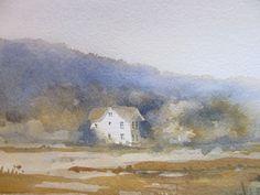 Birgit O'Connor Watercolor: Lesson: Tree Lined Mountain Ridge using a Watercolor Blossom