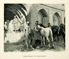 1896 Print Caravansary Mian-Kotal Horse Edwin Lord Weeks Men Turban XGAF9