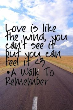 Love is like the wind: you can't see it but you can feel it. - a walk to remember by nicholas sparks